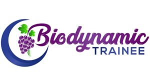 biodynamic trainee logo, blue and purple with moon and grapes